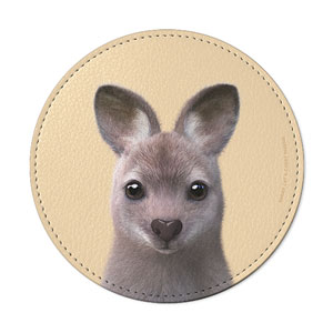 Wawa the Wallaby Leather Coaster