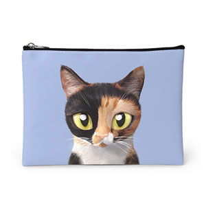 Ara the domestic cat Leather Pouch