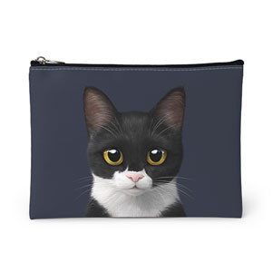 Byeol the Tuxedo Cat Leather Pouch
