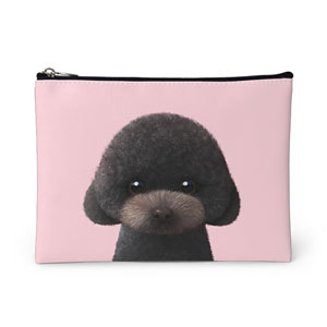 Choco the Black Poodle Leather Pouch