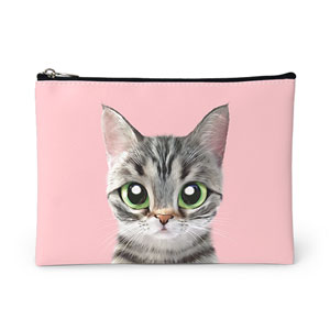 Momo the American shorthair cat Leather Pouch