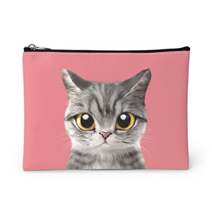 Money the cat Leather Pouch