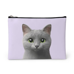 Nami the Russian Blue Leather Pouch