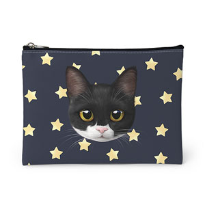 Byeol the Tuxedo Cat's Star Face Leather Pouch