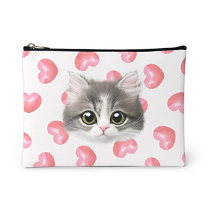 Dan the Kitten's Heart Balloon Face Leather Pouch
