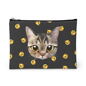 Dots's Cat Bell Face Leather Pouch