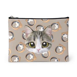 Kung's Cat Wheel Face Leather Pouch