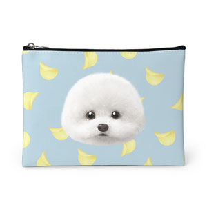 Dongle the Bichon's Potato Chips Face Leather Pouch