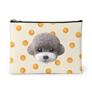 Earlgray the Poodle's Cheese Ball Face Leather Pouch
