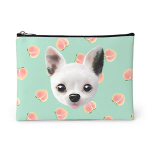 Peaches's Peach Face Leather Pouch