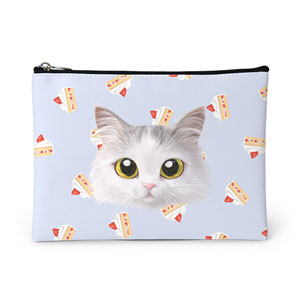 Rangi the Norwegian forest's Strawberry Cake Face Leather Pouch