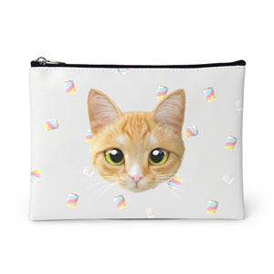 Roy the Cheese Tabby's Marshmallow Face Leather Pouch