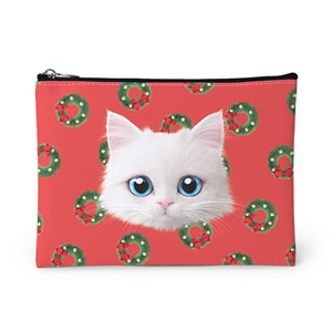 Venus's Christmas Wreath Face Leather Pouch