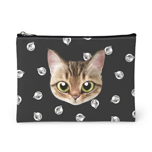 Wellbeing's Cat Bell Face Leather Pouch