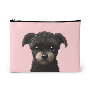 Peach the Schnauzer Leather Pouch