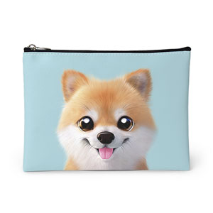 Tan the Pomeranian Leather Pouch