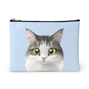 Tofu the Norwegian Forest cat Leather Pouch