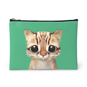 Leo the Leopard cat Leather Pouch