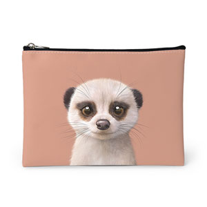 Mia the Meerkat Leather Pouch