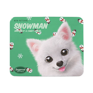 Dubu the Spitz's Snowman New Patterns Mouse Pad