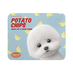 Dongle the Bichon's Potato Chips New Patterns Mouse Pad