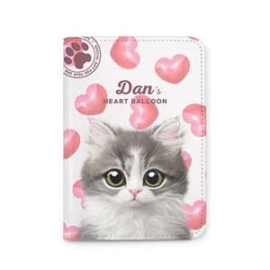 Dan the Kitten's Heart Balloon Passport Case