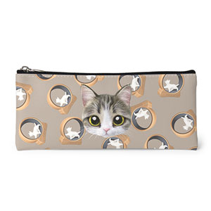 Kung's Cat Wheel Face Leather Pencilcase