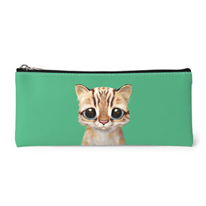 Leo the Leopard cat Leather Pencilcase