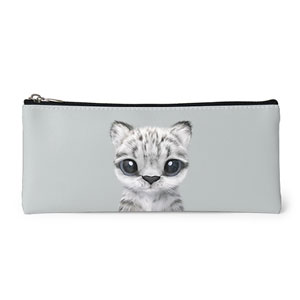 Yungki the Snow Leopard Leather Pencilcase