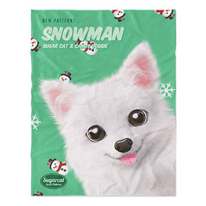 Dubu the Spitz's Snowman New Patterns Soft Blanket