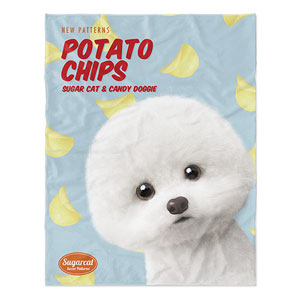 Dongle the Bichon's Potato Chips New Patterns Soft Blanket