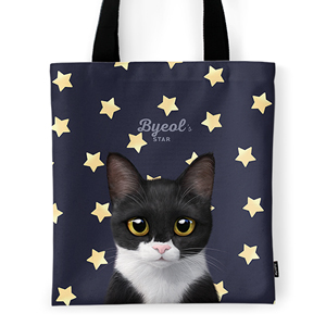 Byeol the Tuxedo Cat's Star Tote Bag