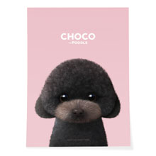 Choco the Black Poodle Art Poster