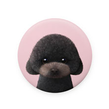 Choco the Black Poodle Mirror Button