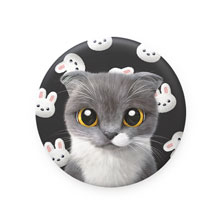 Fran's White Rabbit Mirror Button