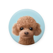Ruffy the Poodle Mirror Button