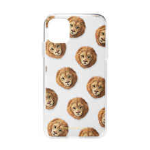 Lager the Lion Face Patterns Clear Jelly Case