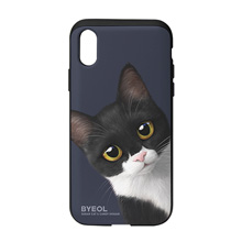 Byeol the Tuxedo Cat Peekaboo Slide Case