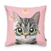 Momo the American shorthair cat's Peach Throw Pillow