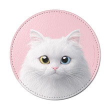 Cloud the Persian Cat Leather Coaster