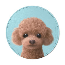 Ruffy the Poodle Leather Coaster