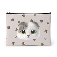 Duna's Choco Cereal Face Leather Pouch