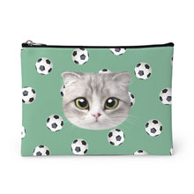 Momo Mumohan's Soccer Ball Face Leather Pouch
