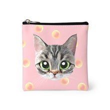 Momo the American shorthair cat's Peach Face Mini Pouch
