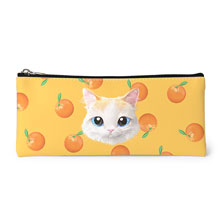 Andy's Orange Face Leather Pencilcase