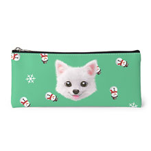 Dubu the Spitz's Snowman Face Leather Pencilcase