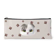 Duna's Choco Cereal Face Leather Pencilcase