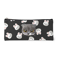 Fran's White Rabbit Face Leather Pencilcase