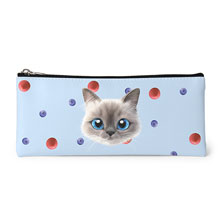 Momo's Blueberry & Strawberry Face Leather Pencilcase