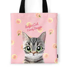 Momo the American shorthair cat's Peach Script Logo Tote Bag
